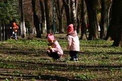 Игра детей в парке города стоковая фотография rf
