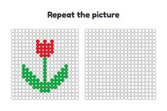 игра для детей дошкольного возраста Повторите изображение Покрасьте круги белизна тюльпана изоляции цветка Стоковые Изображения