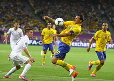 Игра 2012 ЕВРО UEFA Швеция против Франции Стоковые Фото