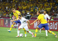 Игра 2012 ЕВРО UEFA Швеция против Франции Стоковое Изображение
