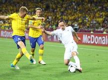 Игра 2012 ЕВРО UEFA Швеция против Франции Стоковые Фотографии RF