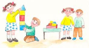 Игра детей акварели Стоковое Изображение RF