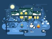 Игра детей ночи зимы иллюстрация штока