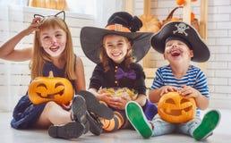 Игра детей с тыквами стоковое фото rf