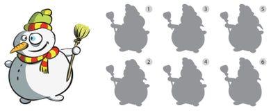 Игра Visual зеркального отображения снеговика Стоковые Фото