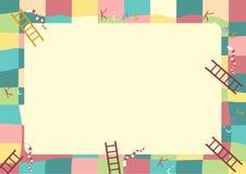 Игра змейки лестницы, смешная рамка для детей Стоковое Изображение RF