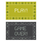 Игра и игра над уведомлением экрана иллюстрация штока