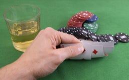 игра карточек смотря покер Стоковые Изображения