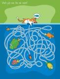 Игра кота и лабиринта рыб Стоковое Изображение