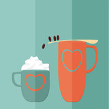 Игра кофе. Плоский вектор Стоковая Фотография RF