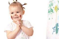 игра красок девушки маленькая Стоковые Изображения RF