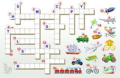 Игра кроссворда с переходом Воспитательная страница для детей для слов английского языка исследования Изображение шаржа вектора иллюстрация вектора
