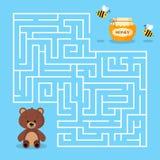 Игра лабиринта для детей дошкольного возраста с опарником бурого медведя мультфильма лабиринта милым меда и пчел Медведь ищет мед иллюстрация вектора