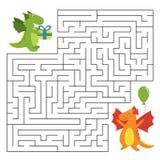 Игра лабиринта дня рождения с смешными драконами шаржа Стоковое Фото