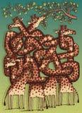 Игра лабиринта жирафов Стоковая Фотография RF