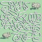 Игра лабиринта зебры Стоковая Фотография
