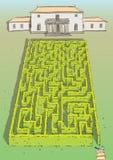 Игра лабиринта изгороди ландшафта Стоковое Фото