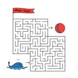 Игра лабиринта кита мультфильма иллюстрация штока