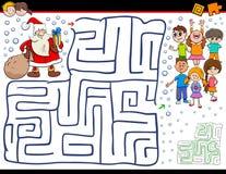 Игра лабиринта мультфильма с Санта Клаусом иллюстрация штока