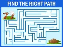 Игра лабиринта находит путь ` s муравья к гнезду муравья иллюстрация штока