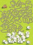 Игра лабиринта овец и собаки Стоковое Изображение RF