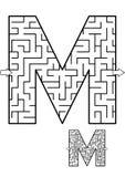 Игра лабиринта письма m для детей иллюстрация вектора