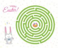 Игра лабиринт для детей зайцы пасхи милые ищет путь через лабиринт к корзине с пасхальными яйцами головоломка иллюстрация вектора