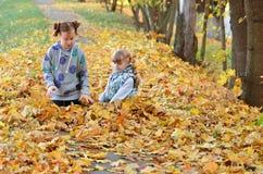 Игра маленьких девочек outdoors в сезоне осени стоковые фото
