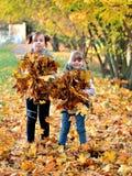 Игра маленьких девочек outdoors в сезоне осени стоковая фотография