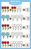 Игра математики воспитательная для детей Подсчитывать уровнения Рабочее лист добавлению иллюстрация вектора