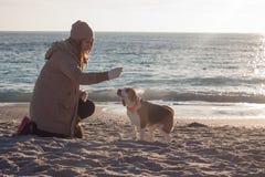 Игра молодой женщины с собакой бигля Стоковая Фотография RF
