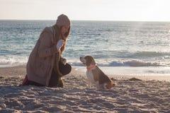 Игра молодой женщины с собакой бигля Стоковое Изображение RF