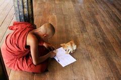 Игра монаха с котом в монастыре Shwe Yan Pyay, Nyaungshwe, Мьянме Стоковое Изображение RF