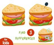 Игра образования разницах в находки, сандвич бесплатная иллюстрация