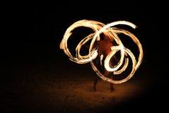 Игра огня на пляже Стоковая Фотография RF