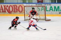 Игра около строба Хоккей на льде детей Стоковая Фотография RF