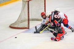 Игра около строба Хоккей на льде детей Стоковое Фото