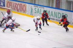 Игра около строба Хоккей на льде детей Стоковое фото RF