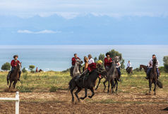 Игра лошади в Кыргызстане Стоковые Изображения RF