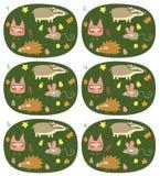 Игра пар спички визуальная: Животные леса Стоковые Фотографии RF