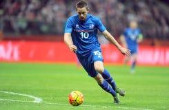 Игра Польши - Исландии дружелюбная Стоковое фото RF