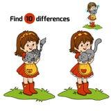 Игра разницах в находки (маленькая девочка с милым котом) иллюстрация вектора