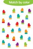 Игра рождества зимы соответствуя для детей, соединяет идентичные красочные mittens, средний уровень, preschool деятельность при р иллюстрация штока