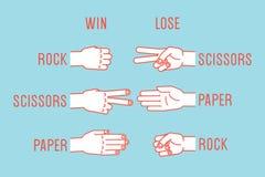 Игра руки Утес, ножницы, бумага правила жесты вектор иллюстрация вектора