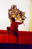 Игра тени марионеток Nang Yai на Национальном музее Wat Khanon, Ratcha Buri Таиланде Стоковое Изображение RF