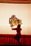 Игра тени марионеток Nang Yai на Национальном музее Wat Khanon, Ratcha Buri Таиланде Стоковые Изображения RF