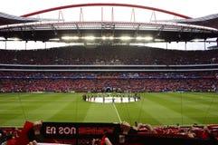 Игра футбола лиги чемпионов, футбольный стадион Benfica Стоковая Фотография