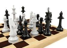 Игра шахматной доски на белой предпосылке Стоковое Изображение