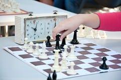 Игра шахмат Девушка играя шахмат в парке Стоковое Изображение RF