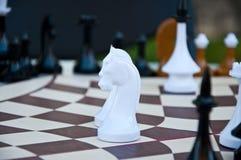 Игра шахмат Шахматные фигуры на шестиугольной доске Стоковое фото RF